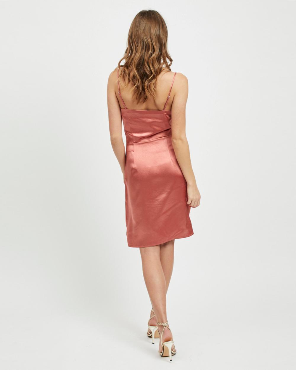 Vestito lungo Vila Clothes SATENY DRESS Rosa - 45322