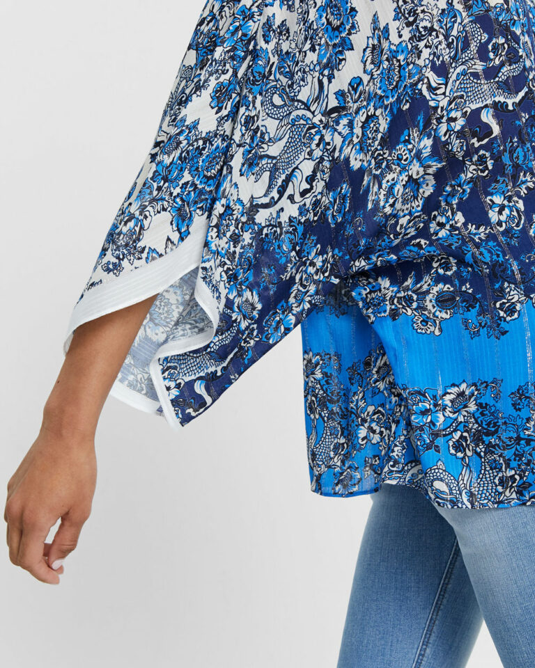 Bluse manica lunga Desigual Blus atenas Blu - Foto 4