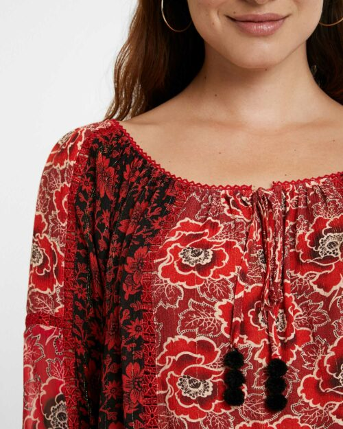 Bluse manica lunga Desigual Blus Rosal Bordeaux - Foto 2