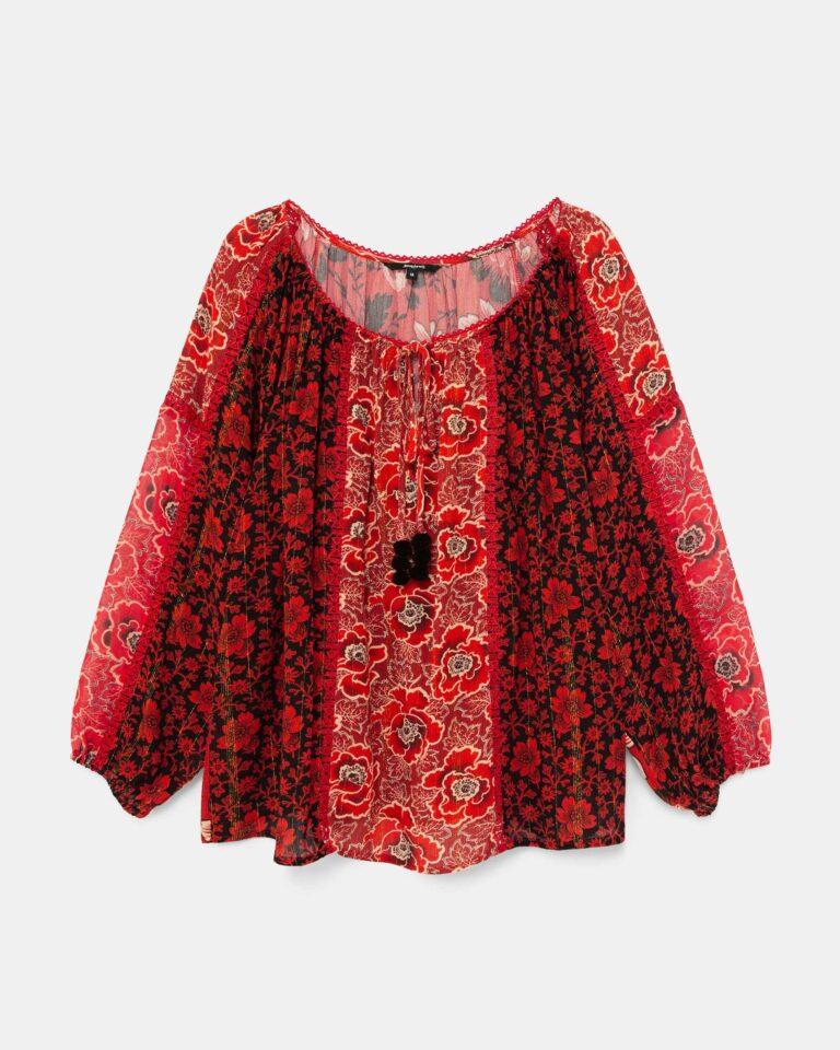Bluse manica lunga Desigual Blus Rosal Bordeaux - Foto 4