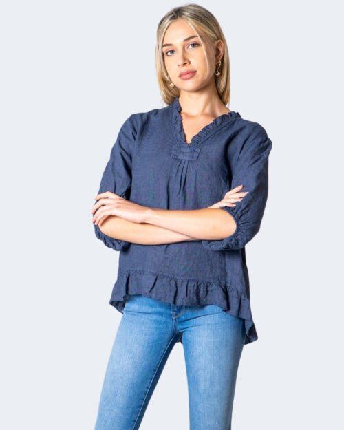 Blusa manica corta Akè BLUSA Blue Denim – 52162