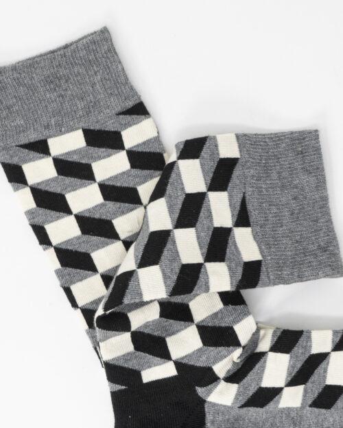 Calzini corti Happy Socks FILLED OPTIC SOCKS Grigio – 67070
