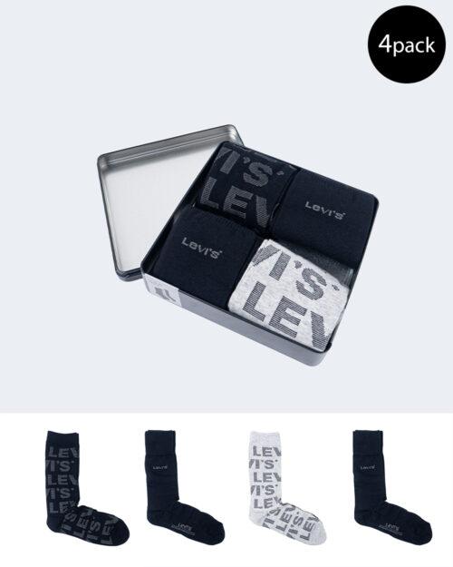 Calzini Lunghi Levi's® GIFTBOX REG CUT STRIPES 4P Nero – 61307