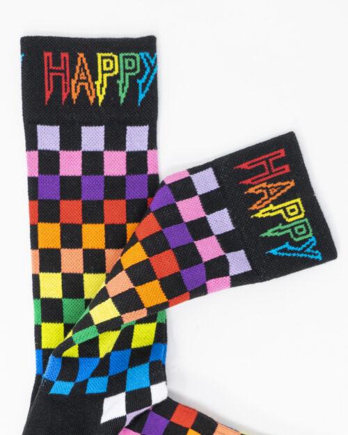 Calzini Lunghi Happy Socks RAINBOW CHECK THIN CREW Nero – 66575