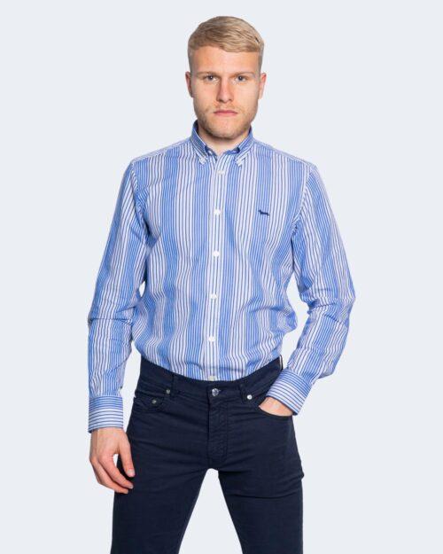 Camicia manica lunga Harmont&blaine 2 TESSUTI RIGHE Blu – 66824