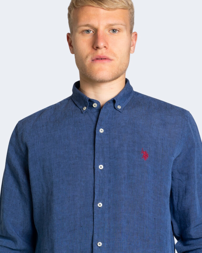 Camicia manica lunga U.S. Polo Assn. ZAM NEW Dark Blue Denim - Foto 4