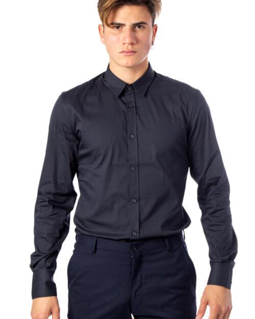 Camicia manica lunga Antony Morato Basica Abbottonatura a Vista Color Super Slim Antracite – 31075