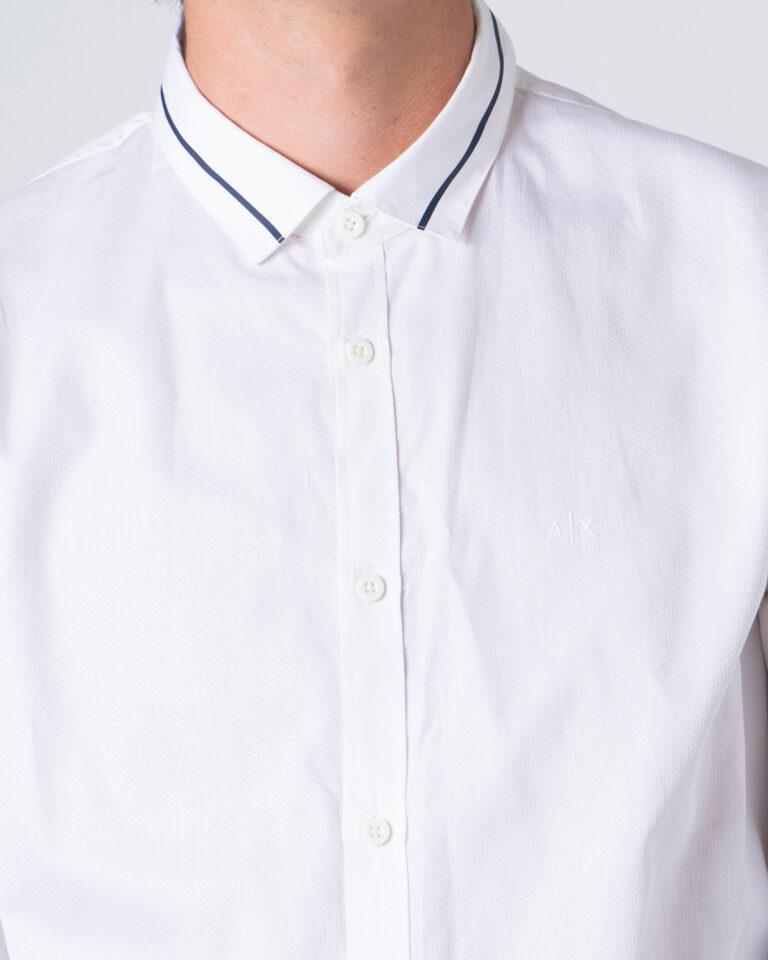 Camicia manica lunga Armani Exchange Colletto riga contrasto Bianco - Foto 3