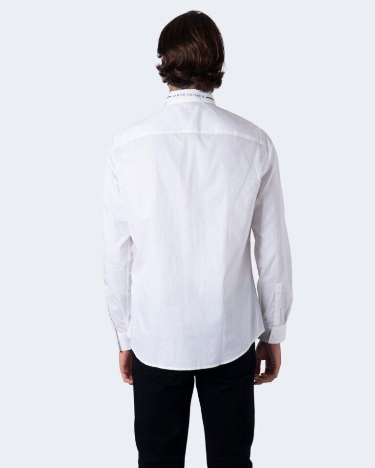 Camicia manica lunga Armani Exchange Colletto riga contrasto Bianco - Foto 4