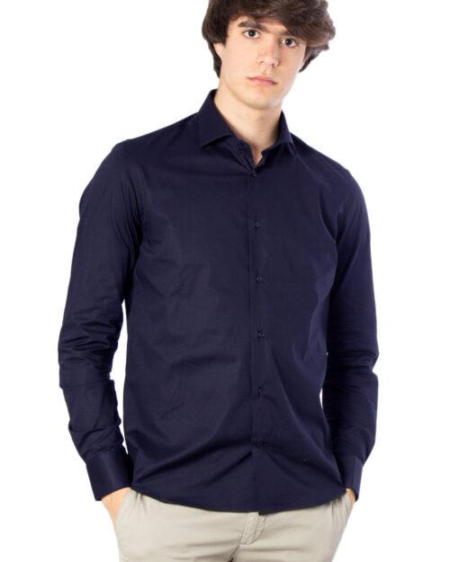 Camicia manica lunga Brian Brome STRETCH FRANCESE Blu - Foto 1