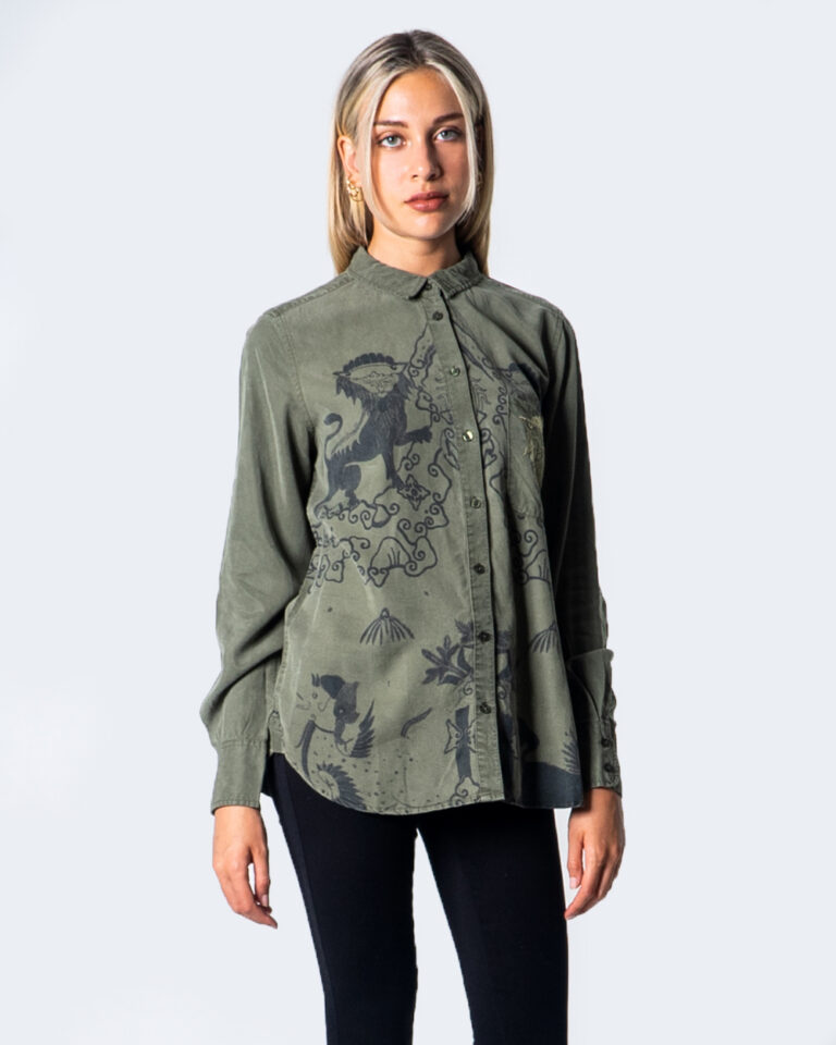 Camicia manica lunga Desigual CAM LIONSLOVE Verde Oliva - Foto 1