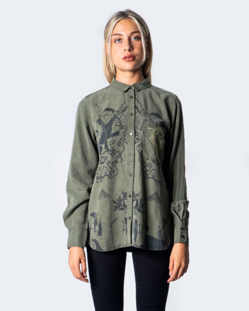 Camicia manica lunga Desigual CAM LIONSLOVE Verde Oliva - Foto 3