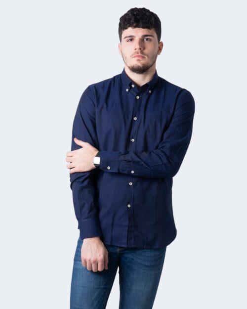 Camicia manica lunga Idra TINTA UNITA Blu - Foto 1