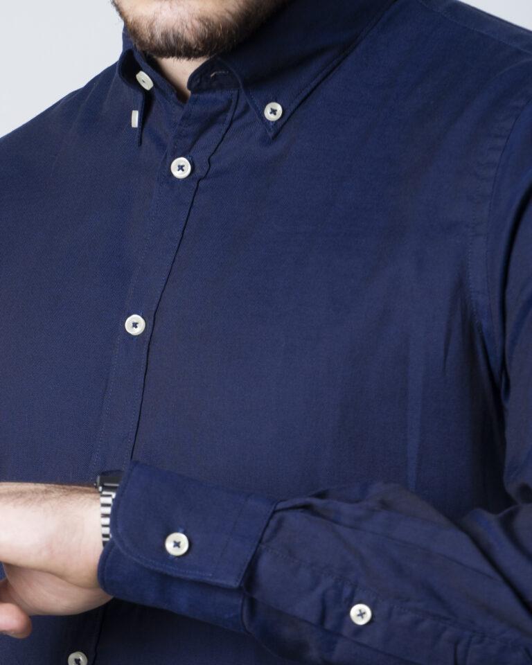 Camicia manica lunga Idra TINTA UNITA Blu - Foto 3