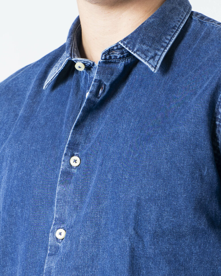 Camicia manica lunga Idra TINTA UNITA 1030A2 Denim - Foto 3