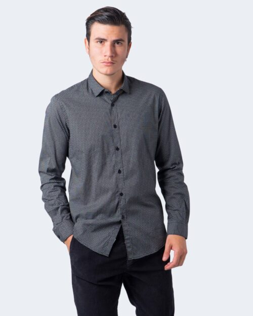 Camicia manica lunga Idra STAMPA PUNTINATA Nero – 59674
