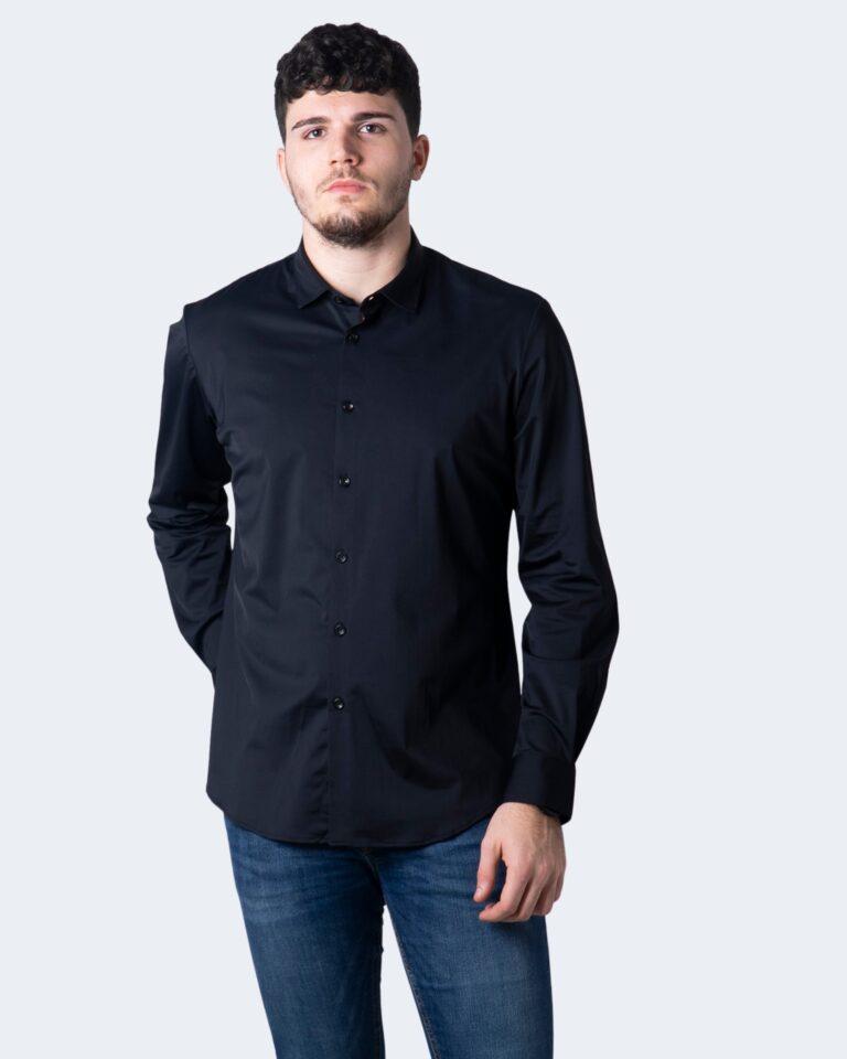 Camicia manica lunga Idra TINTA UNITA Nero - Foto 1