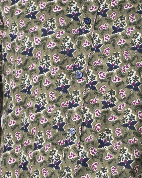 Camicia manica lunga Idra STAMPA FLOREALE Verde Oliva - Foto 4