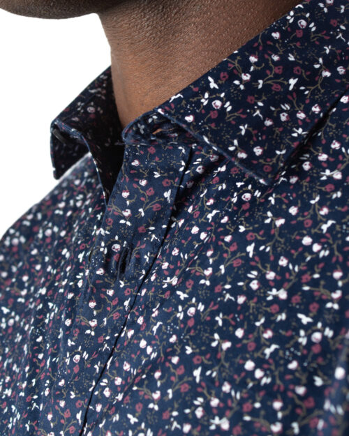 Camicia manica lunga Only & Sons Alves LS Flowr 2-Ply Easy Iron Noos Blu - Foto 4