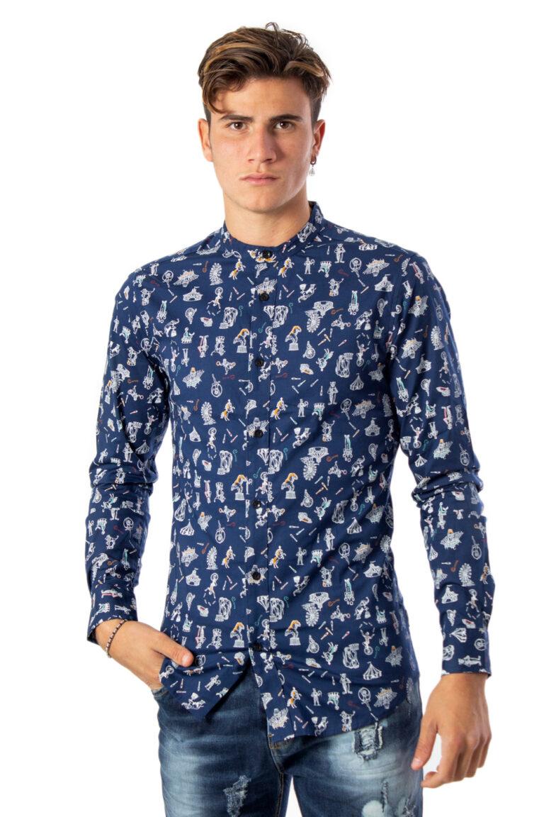 Camicia manica lunga Only & Sons Patric LS Mandarine Aop ShirtExtra Slim Blu - Foto 1
