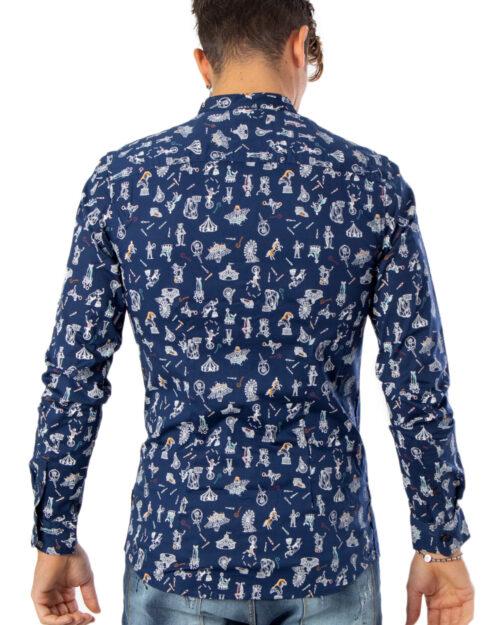 Camicia manica lunga Only & Sons Patric LS Mandarine Aop ShirtExtra Slim Blu - Foto 2
