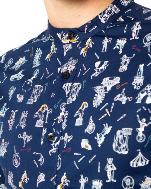 Camicia manica lunga Only & Sons Patric LS Mandarine Aop ShirtExtra Slim Blu - Foto 3