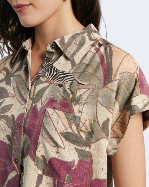 Camicia manica corta Desigual ETNICAN Beige - Foto 3