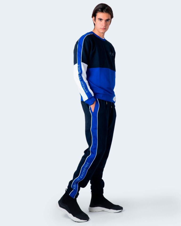 Felpa senza cappuccio Armani Exchange Bicolore girocollo Blu - Foto 3