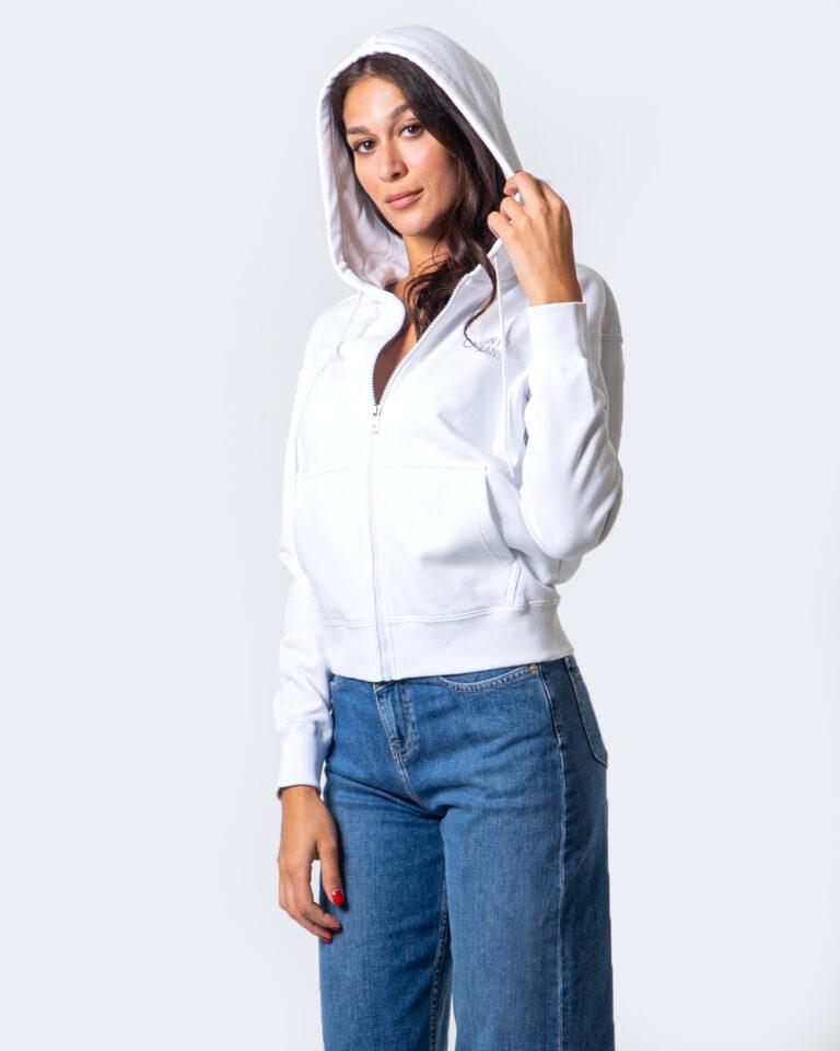 Felpa con cappuccio Calvin Klein Jeans INSTIT BACK LOGO ZIP THROUGH Bianco - Foto 2