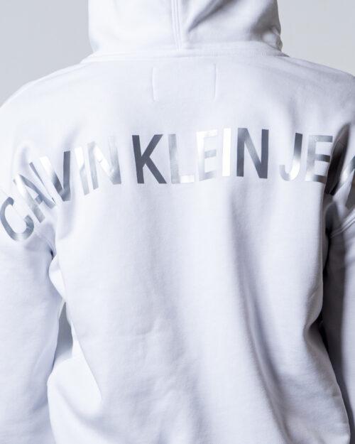 Felpa con cappuccio Calvin Klein Jeans INSTIT BACK LOGO ZIP THROUGH Bianco - Foto 4