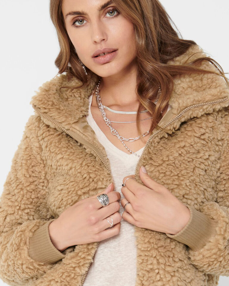 Cappotto Only SHERPA BOMBER JACKET Beige scuro - Foto 3