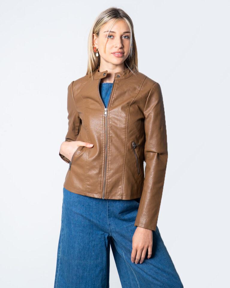 Giacchetto Only Melisa Faux Leather Jacket CC Otw Marrone - Foto 2