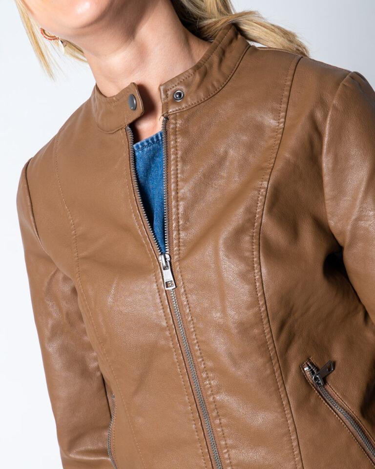 Giacchetto Only Melisa Faux Leather Jacket CC Otw Marrone - Foto 4