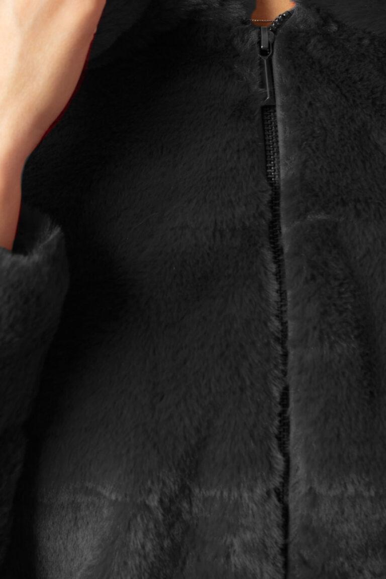 Pelliccia ecologica Only CHRIS FUR HOODED JACKET Nero - Foto 3