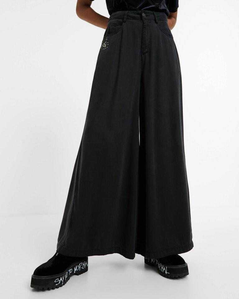 Pantaloni a palazzo Desigual DENIM SUPER WIDE LEG Grigio Scuro - Foto 1