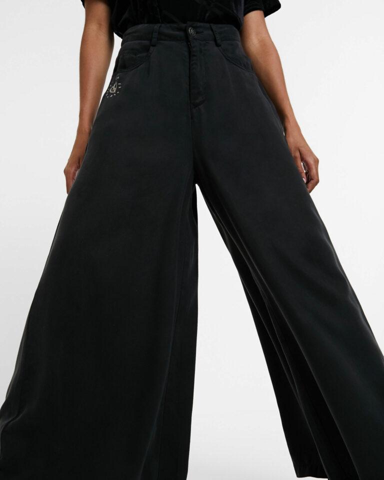 Pantaloni a palazzo Desigual DENIM SUPER WIDE LEG Grigio Scuro - Foto 2