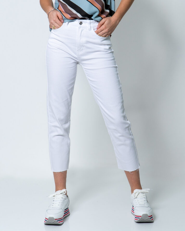Jeans mom Only EMILY LIFE HW ST RAW CRPANK COL NOOS Bianco - Foto 1