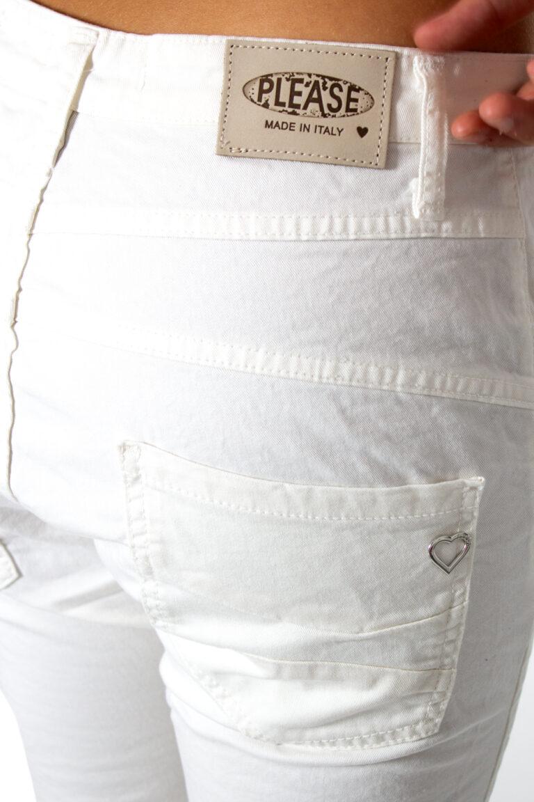 Pantaloni Please P78ADR7M07 BASIC Bianco - Foto 4
