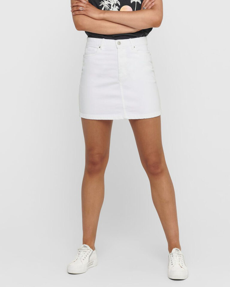 Minigonna Only ROSE A-SHAPE COLOR SKIRT PNT Bianco - Foto 3