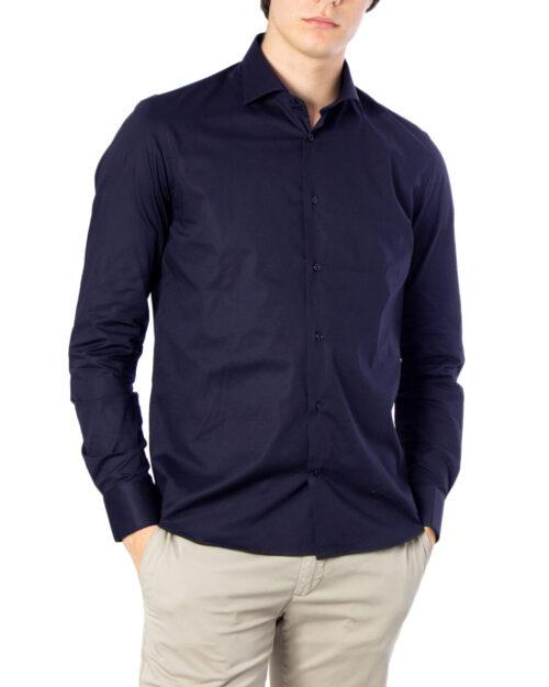 Camicia manica lunga Brian Brome STRETCH FRANCESE Blu - Foto 5