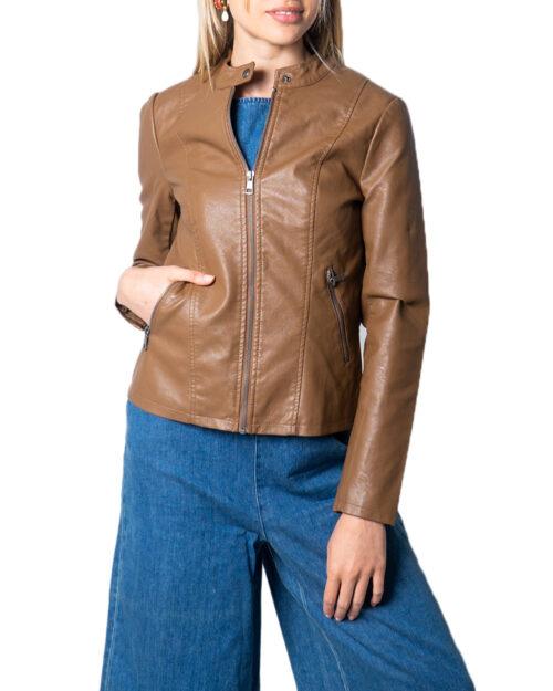 Giacchetto Only Melisa Faux Leather Jacket CC Otw Marrone - Foto 5