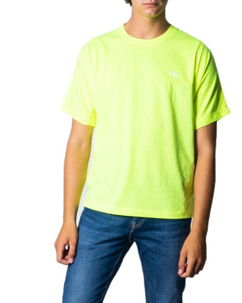 T-shirt Calvin Klein Jeans PUFF PRINT BACK LOGO T-SHIRT Giallo lime - Foto 5