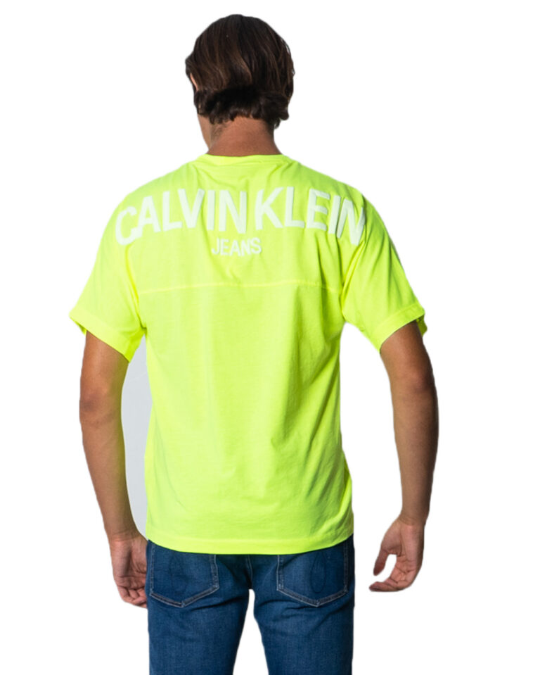 T-shirt Calvin Klein Jeans PUFF PRINT BACK LOGO T-SHIRT Giallo lime - Foto 4