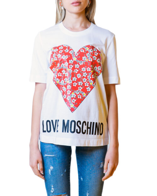 T-shirt Love Moschino CUORE LOGO Bianco - Foto 5