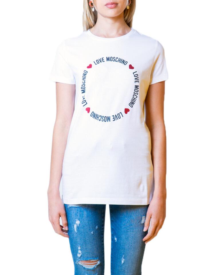 T-shirt Love Moschino LOGO CORE Bianco - Foto 5