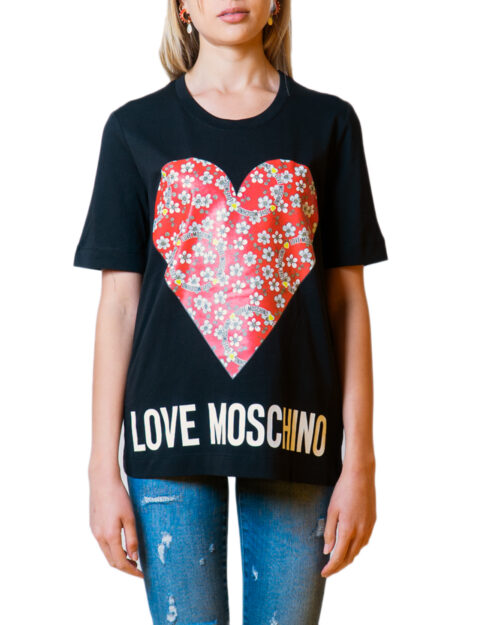 T-shirt Love Moschino CUORE LOGO Nero - Foto 5