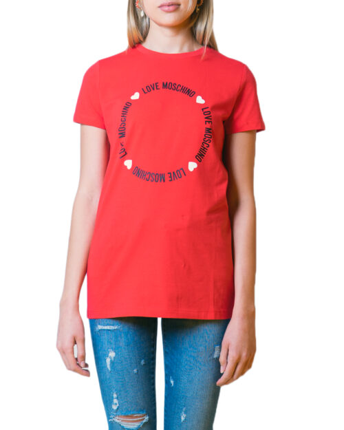 T-shirt Love Moschino LOGO CORE Rosso - Foto 5