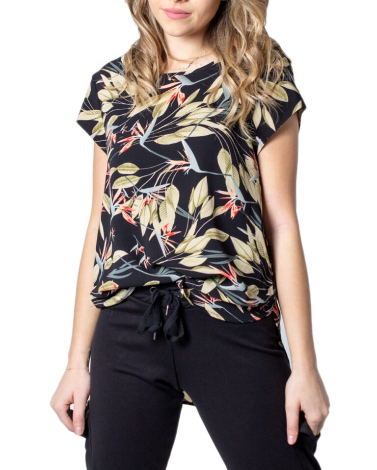 T-shirt Only Vic SS Aop Top Noos Wvn Nero - Foto 5