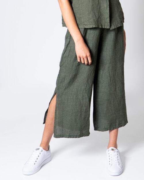 Pantaloni a palazzo Akè LINO CORTO Verde Oliva – 52499