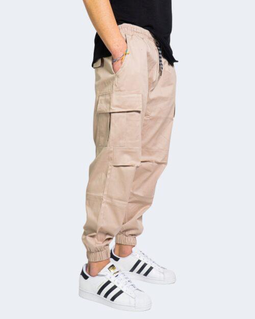Pantaloni con cavallo basso Hydra Clothing TASCHE LATERALI Beige – 67893
